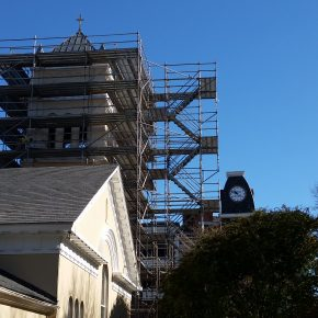 Projects  |  Church Steeple  |   Custom Built Scaffold  |  Wall Access  |  Stair Tower