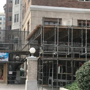Projects  |  The Jefferson  |   Sidewalk/Pedestrian Protection  |  Safety Debris Netting